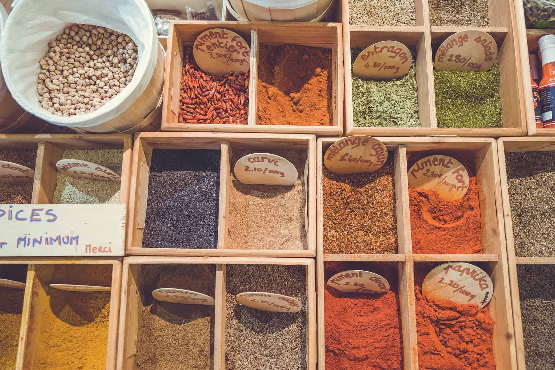 boxes of spices