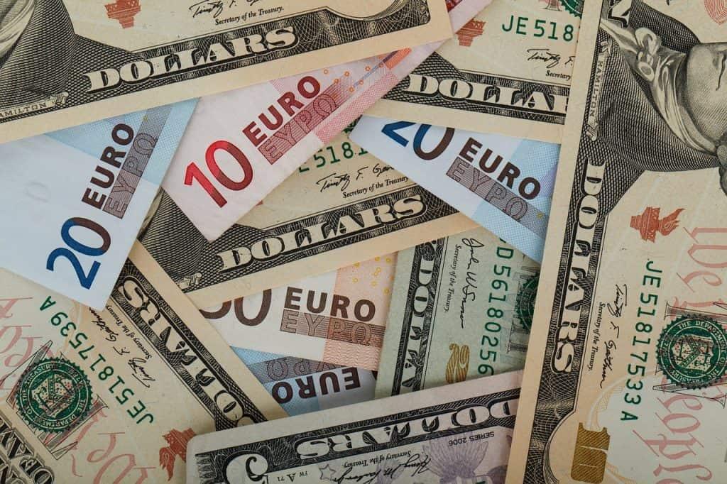 US Dollar and Euro Bills